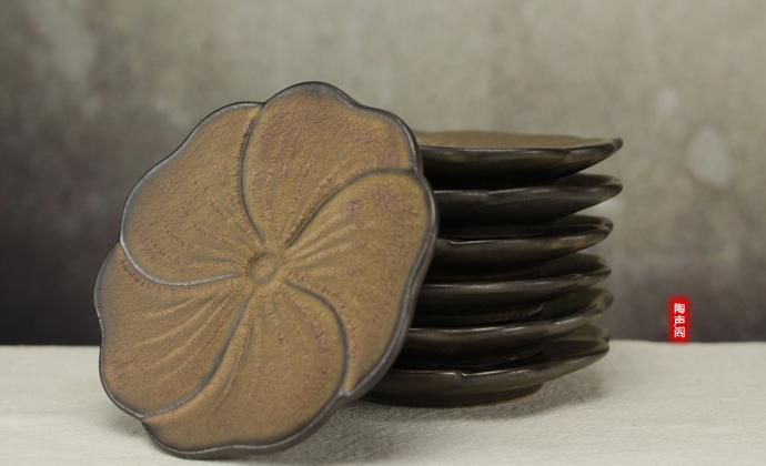 纯手工复古仿古茶具日式禪風茶道細陶茶壶 功夫茶具-花瓣杯托
