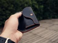 白馬手造 |手工制作皮具 便携卡包/钱包 手染黑色