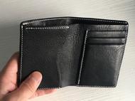 手工黑色摔纹植鞣革牛皮革竖款短款随身小巧钱包男女款真皮短钱夹