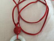 翡翠嫩青环老货红雕漆木珠长款项链