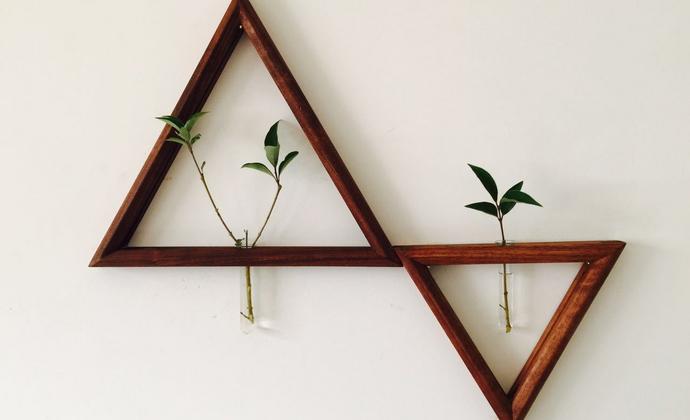 创意简约清新黑胡桃实木DIY百搭装饰花器