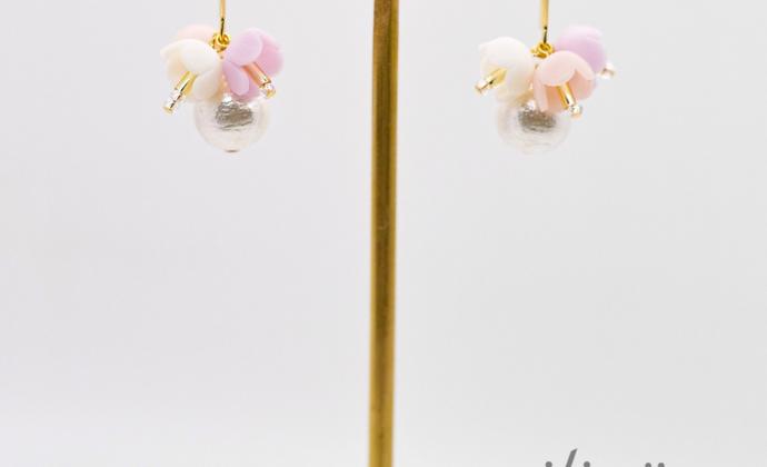 pilivä珍珠花朵手作日系耳饰耳夹