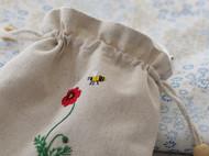 手工DIY布艺刺绣虞美人蜜蜂束口袋