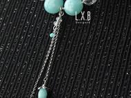 【LXB私人设计】浅蓝琉璃 流苏吊坠 水晶项链 定制非现货