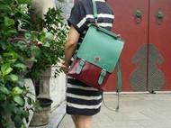红绿真皮双肩背包(纯手工缝制)