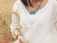 HIWANG『竖纹小鱼儿』刺绣短项链锁骨链民族风文艺森女