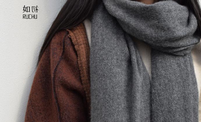 耗牛绒素色围巾