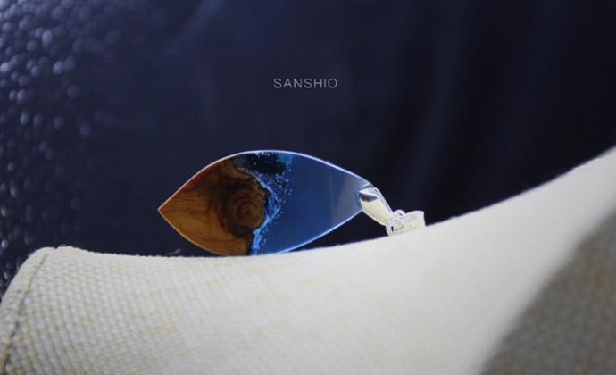 善术SANSHIO手工原创崖柏吊坠文艺范森女系项链创意设计情侣简约极简毛衣链包邮