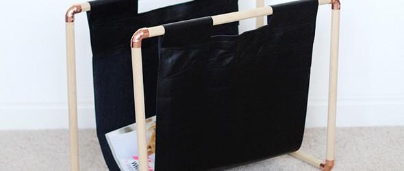 DIY杂志架:使用紫铜弯头+松木木棍+人造革,手工制作杂志架或收纳袋教程