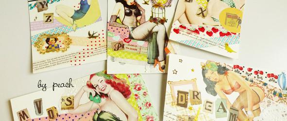 用纸胶带和贴纸拼贴好玩的 明信片