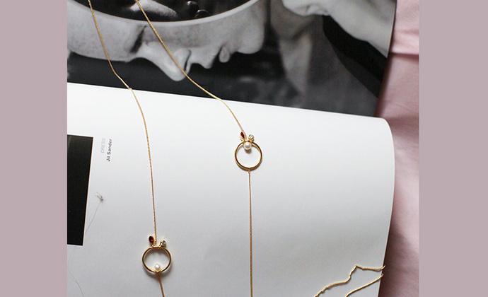 MQ奎妮小姐 天然珍珠小圈圈可灵活调节项链/长链