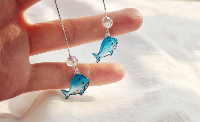 【鲸鱼与海泡泡】楠楠小张漫生活原创自制耳线纯银925耳坠耳环