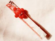 日式山茶花形染棉麻底布爆花玛瑙红玛瑙纯银花托造型发卡