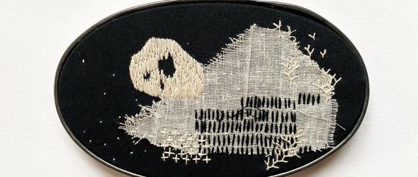 黑白色调的混合媒介刺绣|Rob Campbell