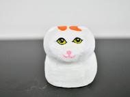松木雕刻丑萌胖猫