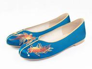 祖母绣堂 小金鱼手绣中式平跟鞋 时尚绣花鞋 苏绣