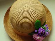 原创森系紫色花朵甜美可爱圆顶草帽卷边沙滩