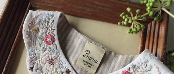 温柔而细腻的刺绣假领子,来自日本刺绣作家 蓬萊和歌子 Wakako Horai