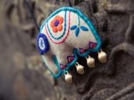 『l蓝大象』手工刺绣项链毛衣链 棉麻配饰民族风布艺森女