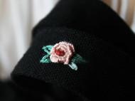 大海手作 花开花落一期一会手工立体刺绣花束 黑色背包手提帆布袋