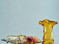 创意彩色玻璃花蓝 欧式家居摆件饰品工艺品 艺术插花花瓶果盘果篮