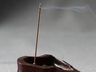 柒言原创-手工茶桌摆件可定制印度小叶紫檀-白漆老料雕刻竹型香插