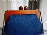 时光手工 NIの原创雾霾蓝毛呢木珠口金包及孔雀木珠口金包