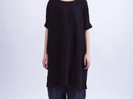 黑色砂洗棉麻半袖衫