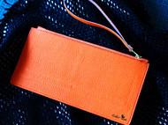 【超薄款】意大利橙色羊皮拼花斑粉色胎牛皮拉链手抓包