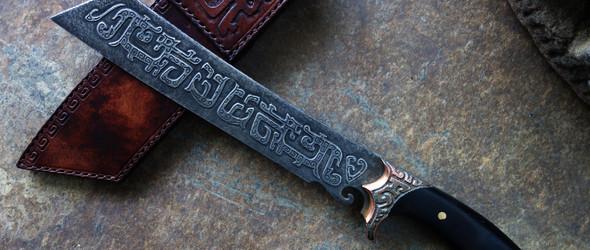 《虎贲》手工刀及植鞣革皮鞘制作记录