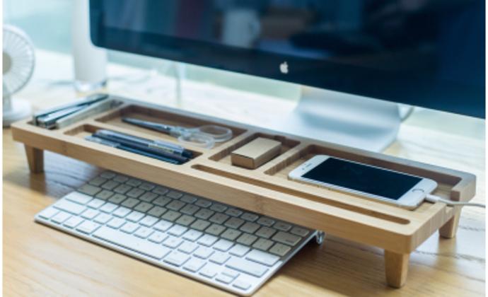 梵瀚 办公室收纳 整理架置物架竹木电脑键盘架子办公用品桌面收纳