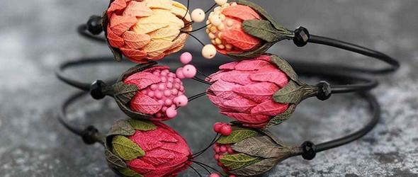 妖艳的粘土花配饰 | Rudaya Anna