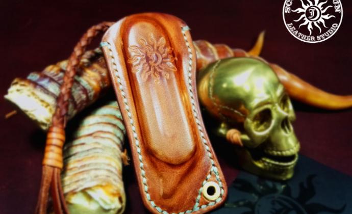 骄阳手工皮具豌豆Serge knives折刀塑形皮套意大利进口植鞣革制作