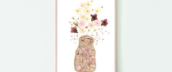 复古与自然并在的刺绣押花艺术 | 英国艺术家Leah Nikolaou的刺绣押花插画