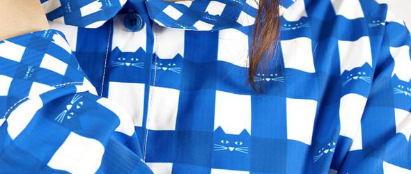 konke猫咪格纹衬衫