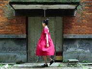 旧事原创 日韩复古宽松红色露背连衣裙 棉麻红色连衣裙长裙