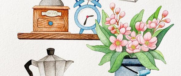 手绘清新美丽的植物和花卉:@by_mia_illust