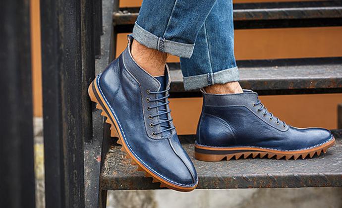 冬季韩版时尚男靴 真皮复古短靴子 男士潮流高帮靴 皮靴