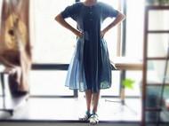旧事甜美公主袖服装原创设计日系棉麻拼接复古宽松娃娃领连衣裙