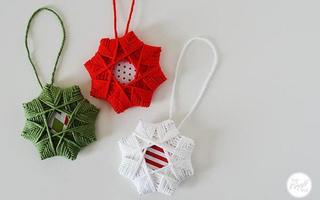 编织多边形的毛线星星挂饰DIY教程