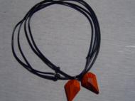 非洲紫檀 红花梨 情侣钻石爱心项链