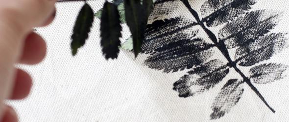 留下夏天的印记:树叶+纺织颜料+棉布,快速DIY制作漂亮的枕头套或靠垫套