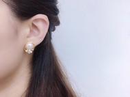 14K注金绕线--珍珠耳钉