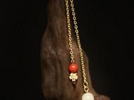 三生三世款,柒言原创-925银镀金 配南红珠子+和田白玉青海料珠子 可以自己调节长度