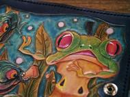 皮雕折叠钱包《树蛙》