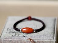 【包邮】凉山天然南红玛瑙柿子红转运珠金刚结手链手绳配925隔珠