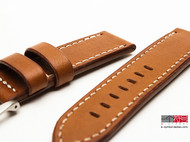 手工皮具沛纳海74复古24mm直身腕表表带 手工皮带panerai