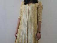 植物染纯手工扎染真丝衬衫式连衣裙