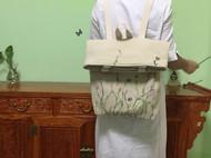 双肩亚麻超大容量单肩双肩两用包包  手绘原创小清新女包