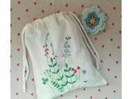 花事未了手作手工刺绣布艺青木和子图样花间意趣单面绣束口袋储物袋